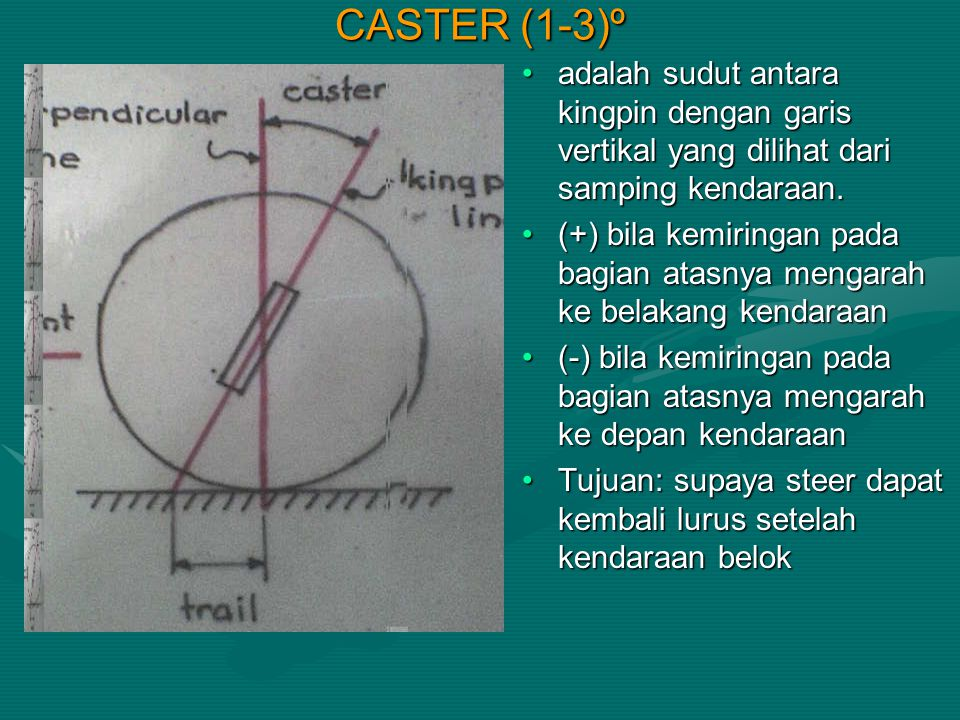 CASTER (1-3)º adalah sudut antara kingpin dengan garis vertikal yang dilihat dari samping kendaraan. (+) bila kemiringan pada bagian atasnya mengarah