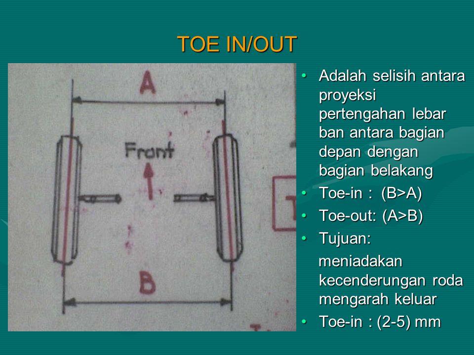 TOE IN/OUT Adalah selisih antara proyeksi pertengahan lebar ban antara bagian depan dengan bagian belakang Toe-in : (B>A) Toe-out: (A>B) Tujuan: menia