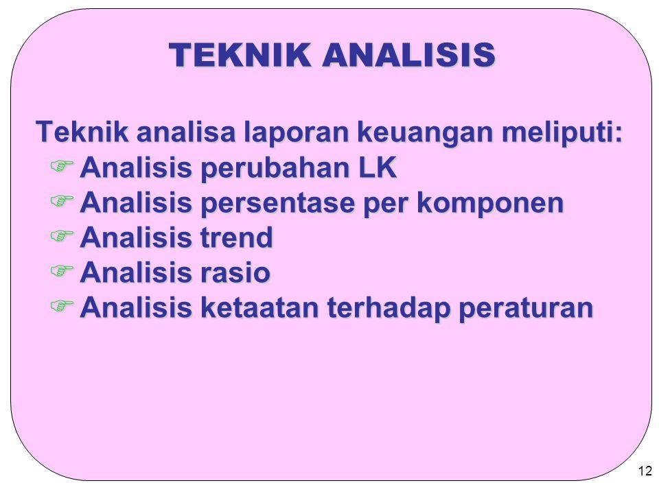 12 TEKNIK ANALISIS Teknik analisa laporan keuangan meliputi:  Analisis perubahan LK  Analisis persentase per komponen  Analisis trend  Analisis ra