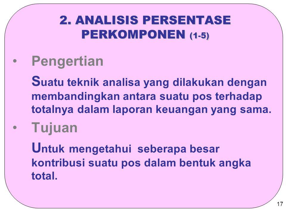 17 2. ANALISIS PERSENTASE PERKOMPONEN (1-5) Pengertian S uatu teknik analisa yang dilakukan dengan membandingkan antara suatu pos terhadap totalnya da