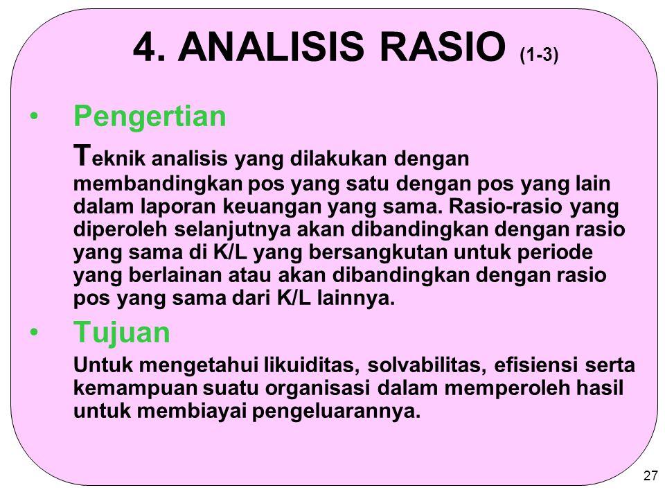 27 4. ANALISIS RASIO (1-3) Pengertian T eknik analisis yang dilakukan dengan membandingkan pos yang satu dengan pos yang lain dalam laporan keuangan y