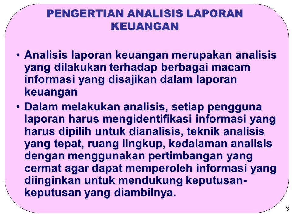 3 PENGERTIAN ANALISIS LAPORAN KEUANGAN Analisis laporan keuangan merupakan analisis yang dilakukan terhadap berbagai macam informasi yang disajikan da