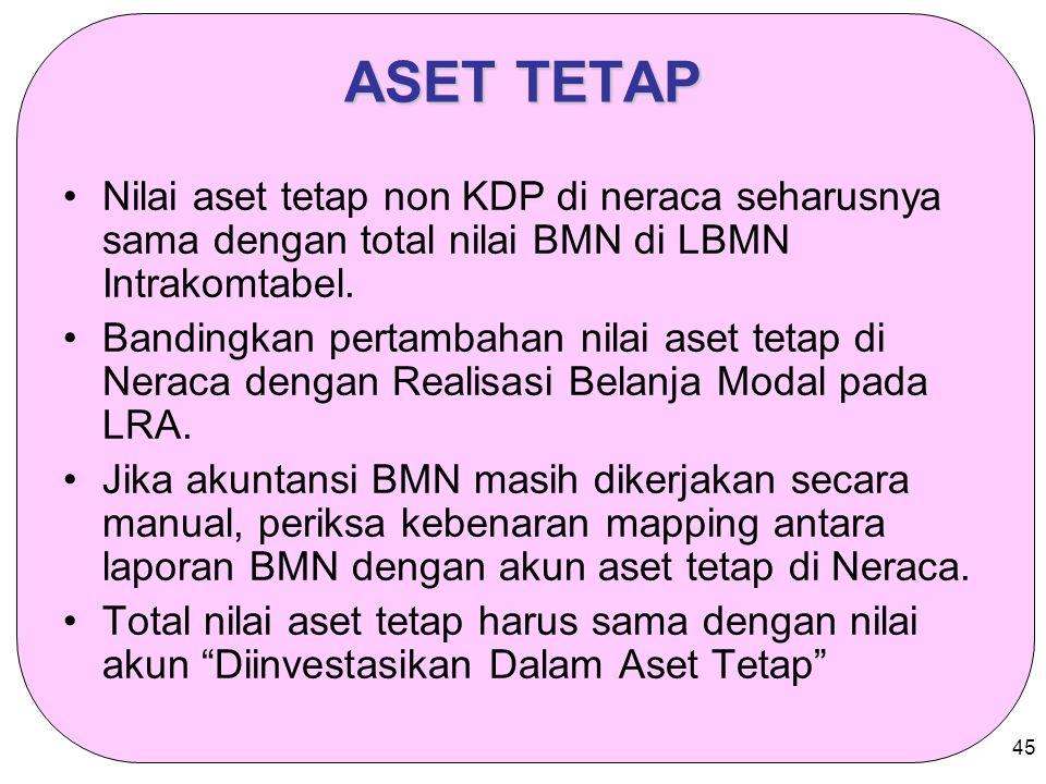 45 ASET TETAP Nilai aset tetap non KDP di neraca seharusnya sama dengan total nilai BMN di LBMN Intrakomtabel. Bandingkan pertambahan nilai aset tetap