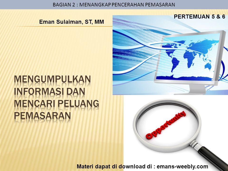 BAGIAN 2 : MENANGKAP PENCERAHAN PEMASARAN Eman Sulaiman, ST, MM Materi dapat di download di : emans-weebly.com PERTEMUAN 5 & 6