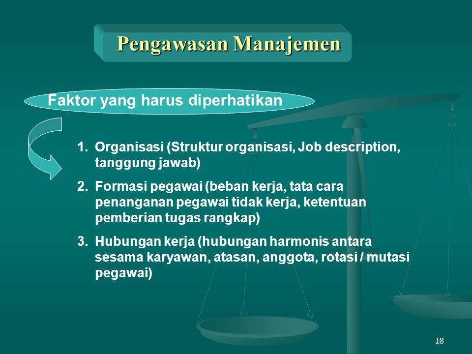 18 Pengawasan Manajemen Faktor yang harus diperhatikan 1.Organisasi (Struktur organisasi, Job description, tanggung jawab) 2.Formasi pegawai (beban ke