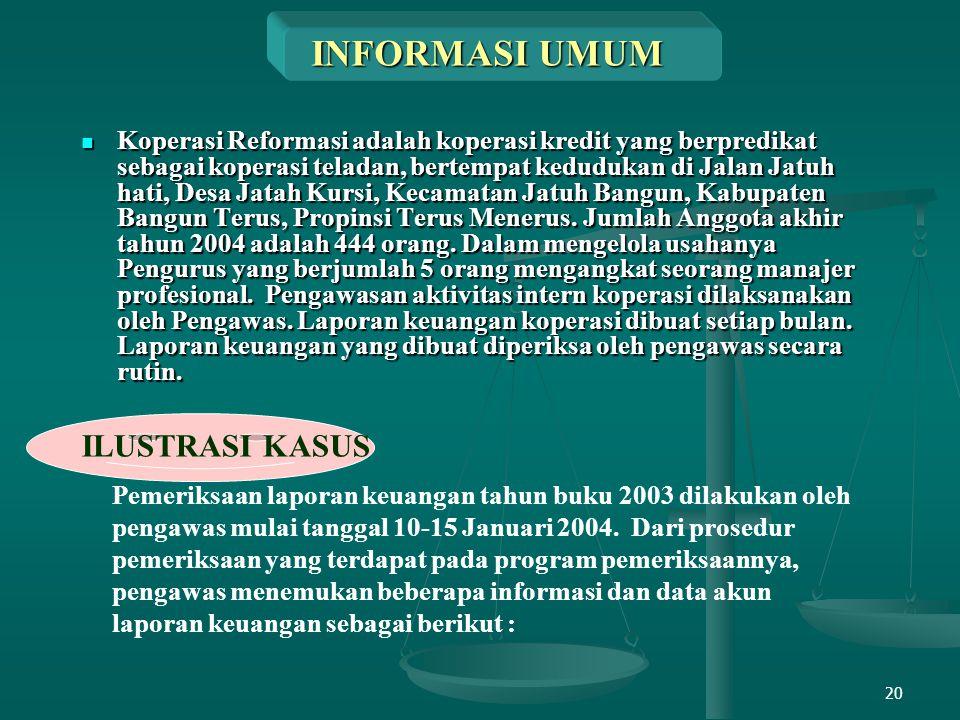 20 INFORMASI UMUM Koperasi Reformasi adalah koperasi kredit yang berpredikat sebagai koperasi teladan, bertempat kedudukan di Jalan Jatuh hati, Desa J