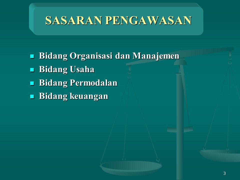 3 SASARAN PENGAWASAN Bidang Organisasi dan Manajemen Bidang Organisasi dan Manajemen Bidang Usaha Bidang Usaha Bidang Permodalan Bidang Permodalan Bid