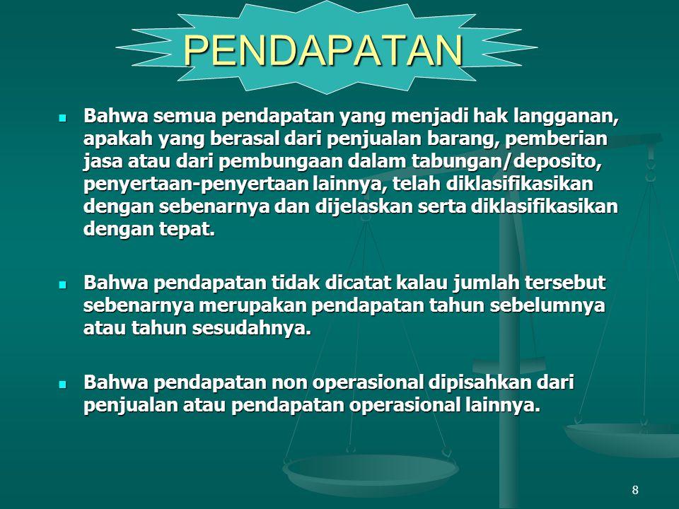 8 Bahwa semua pendapatan yang menjadi hak langganan, apakah yang berasal dari penjualan barang, pemberian jasa atau dari pembungaan dalam tabungan/dep