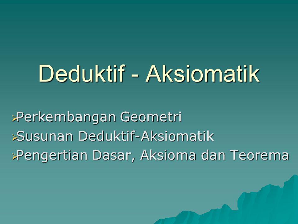 Deduktif - Aksiomatik  Perkembangan Geometri  Susunan Deduktif-Aksiomatik  Pengertian Dasar, Aksioma dan Teorema