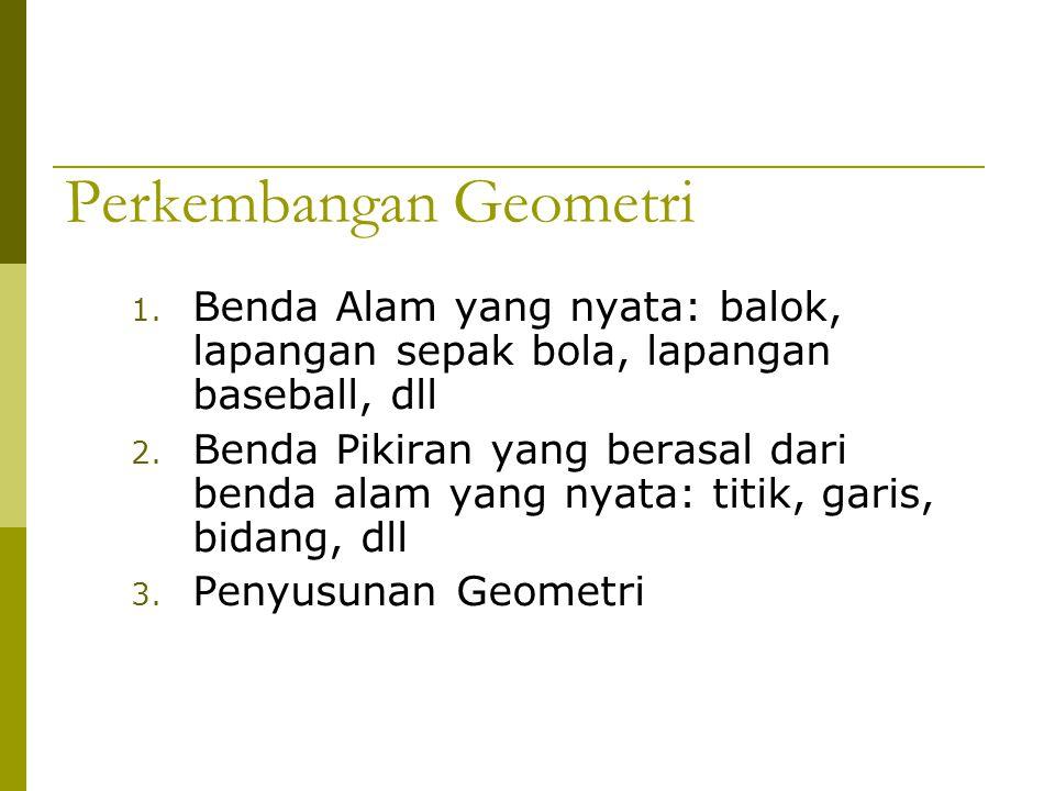 Perkembangan Geometri 1. Benda Alam yang nyata: balok, lapangan sepak bola, lapangan baseball, dll 2. Benda Pikiran yang berasal dari benda alam yang