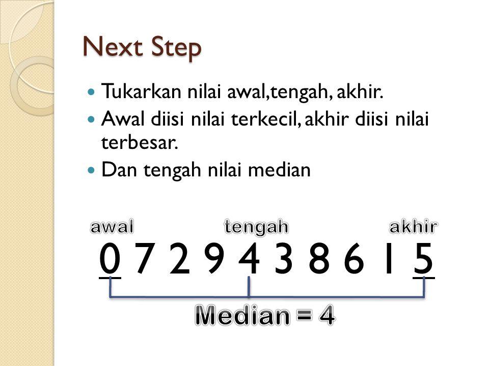 0 7 2 9 4 3 8 6 1 5 Next Step Tukarkan nilai awal,tengah, akhir.
