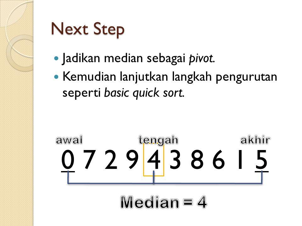 0 7 2 9 4 3 8 6 1 5 Next Step Jadikan median sebagai pivot.