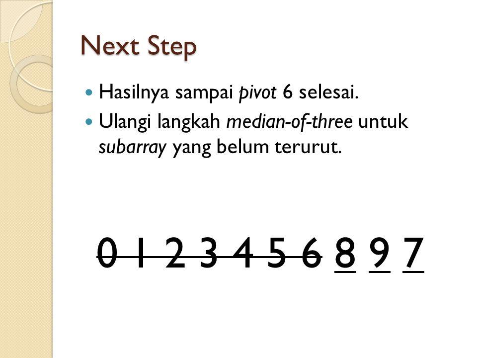 0 1 2 3 4 5 6 8 9 7 Next Step Hasilnya sampai pivot 6 selesai.