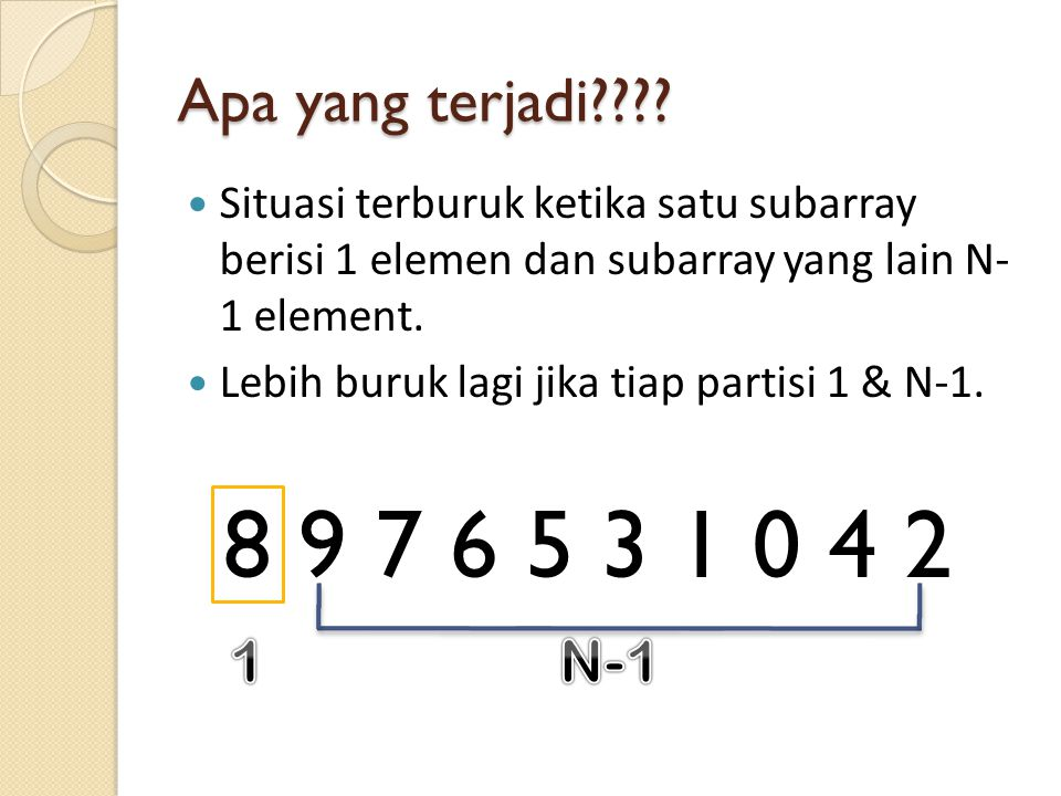 0 1 2 3 4 5 8 6 9 7 Next Step Cari median-of-three untuk subarray yang belum terurut.
