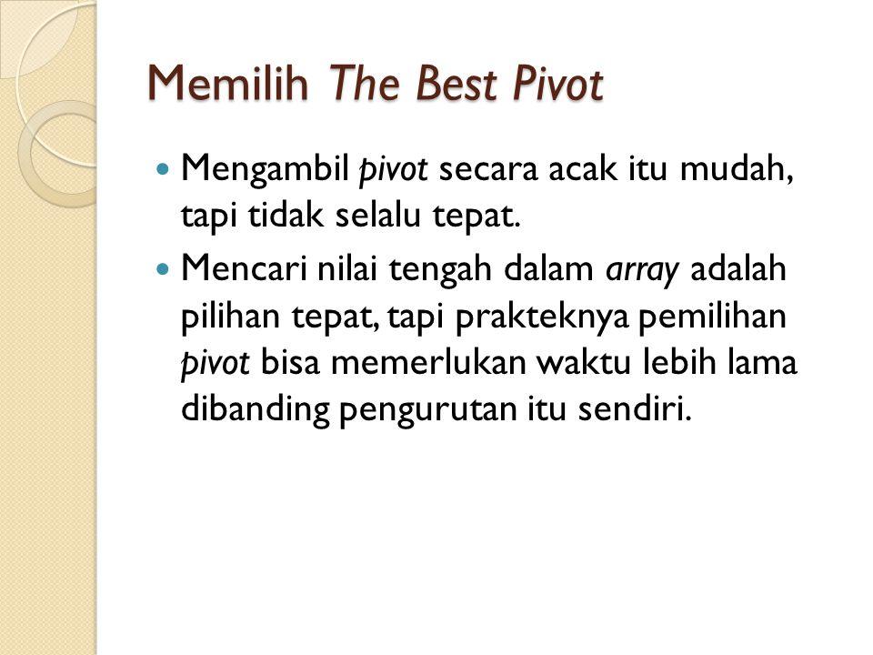Memilih The Best Pivot Mengambil pivot secara acak itu mudah, tapi tidak selalu tepat.