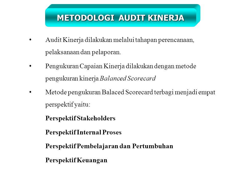 Audit Kinerja dilakukan melalui tahapan perencanaan, pelaksanaan dan pelaporan.