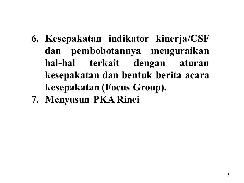 18 6.Kesepakatan indikator kinerja/CSF dan pembobotannya menguraikan hal-hal terkait dengan aturan kesepakatan dan bentuk berita acara kesepakatan (Focus Group).