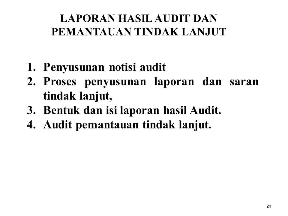 24 1.Penyusunan notisi audit 2.Proses penyusunan laporan dan saran tindak lanjut, 3.Bentuk dan isi laporan hasil Audit.