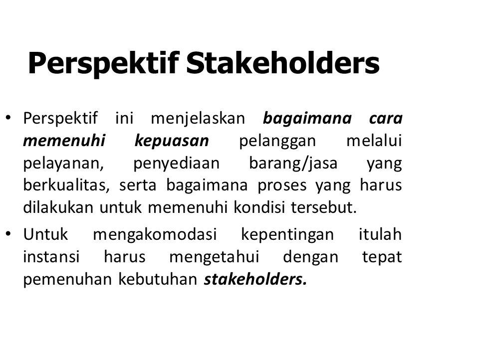 Perspektif Stakeholders Perspektif ini menjelaskan bagaimana cara memenuhi kepuasan pelanggan melalui pelayanan, penyediaan barang/jasa yang berkualitas, serta bagaimana proses yang harus dilakukan untuk memenuhi kondisi tersebut.