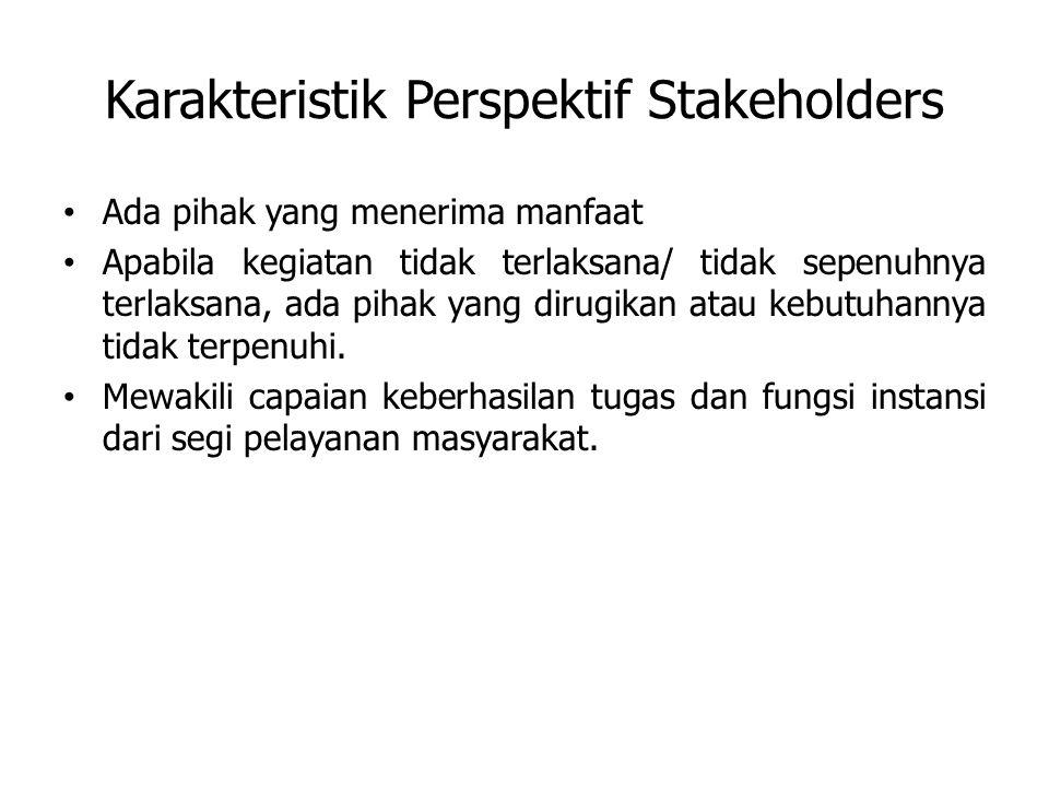 Karakteristik Perspektif Stakeholders Ada pihak yang menerima manfaat Apabila kegiatan tidak terlaksana/ tidak sepenuhnya terlaksana, ada pihak yang dirugikan atau kebutuhannya tidak terpenuhi.