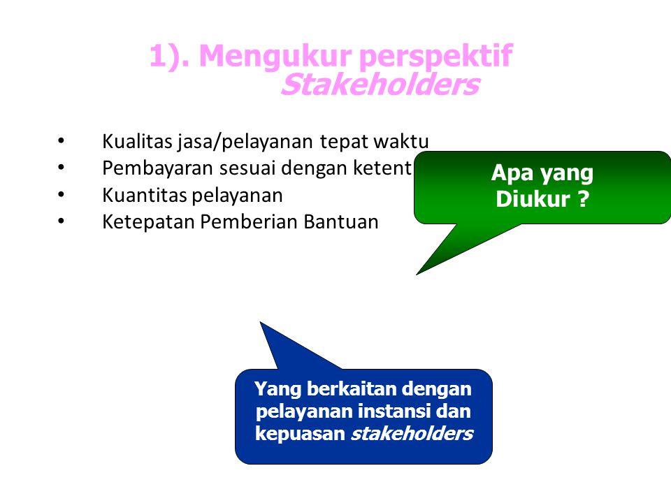1). Mengukur perspektif Stakeholders Kualitas jasa/pelayanan tepat waktu Pembayaran sesuai dengan ketentuan Kuantitas pelayanan Ketepatan Pemberian Ba