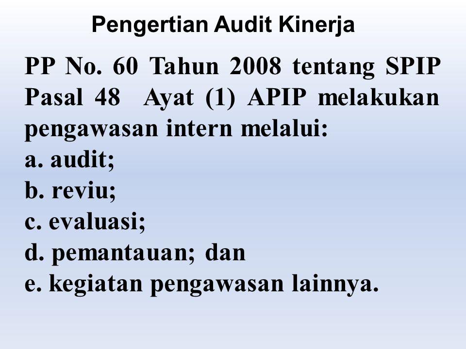 PP No.60 Tahun 2008 tentang SPIP Pasal 48 Ayat (1) APIP melakukan pengawasan intern melalui: a.