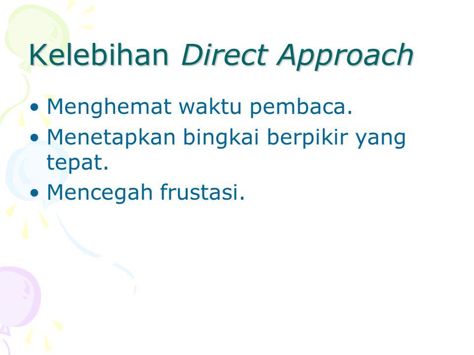 Kelebihan Direct Approach Menghemat waktu pembaca. Menetapkan bingkai berpikir yang tepat. Mencegah frustasi.