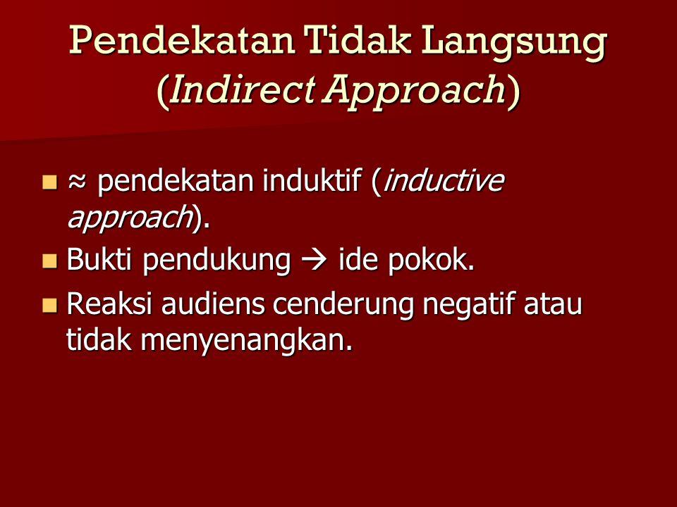 Pendekatan Tidak Langsung (Indirect Approach) ≈ pendekatan induktif (inductive approach). ≈ pendekatan induktif (inductive approach). Bukti pendukung