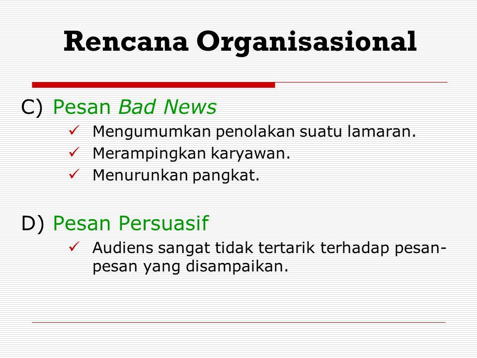 C) Pesan Bad News Mengumumkan penolakan suatu lamaran. Merampingkan karyawan. Menurunkan pangkat. D)Pesan Persuasif Audiens sangat tidak tertarik terh