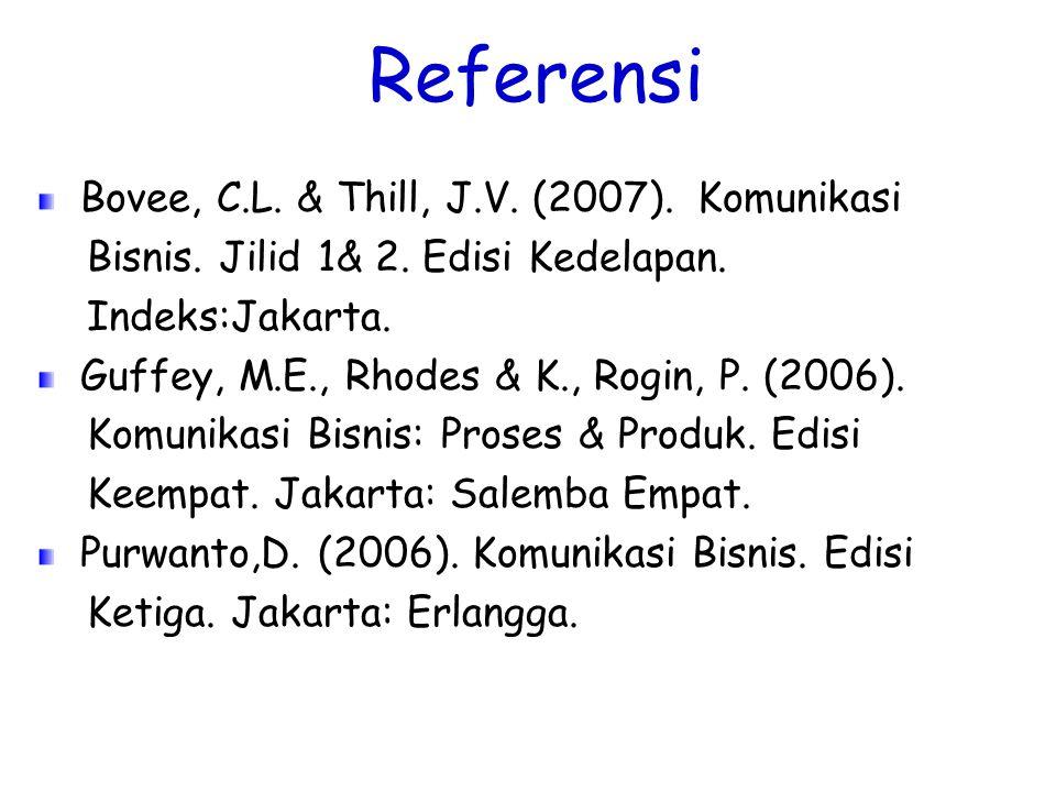 Referensi Bovee, C.L. & Thill, J.V. (2007). Komunikasi Bisnis. Jilid 1& 2. Edisi Kedelapan. Indeks:Jakarta. Guffey, M.E., Rhodes & K., Rogin, P. (2006