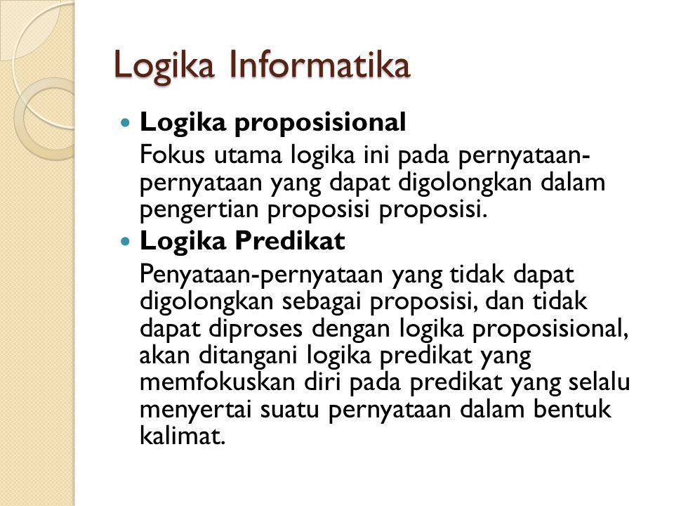 Logika Informatika Logika proposisional Fokus utama logika ini pada pernyataan- pernyataan yang dapat digolongkan dalam pengertian proposisi proposisi.