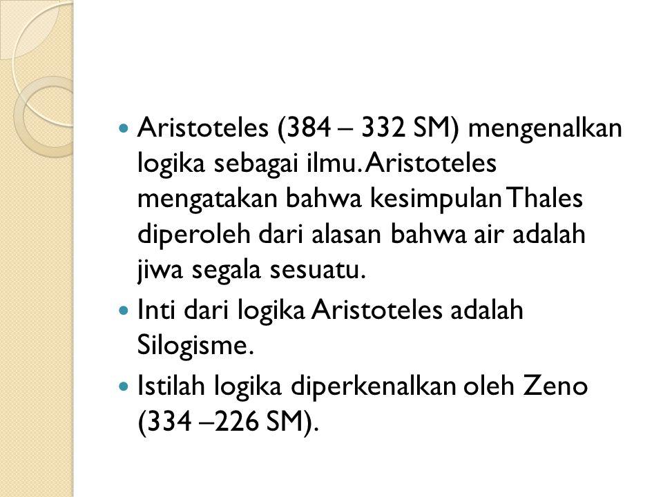 Aristoteles (384 – 332 SM) mengenalkan logika sebagai ilmu.