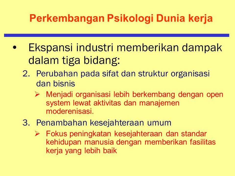 Lingkup Psikologi Dunia Kerja Ekspansi industri memberikan dampak dalam tiga bidang: 1.Status buruh dan pekerja  Buruh atau pekerja tidak dianggap la