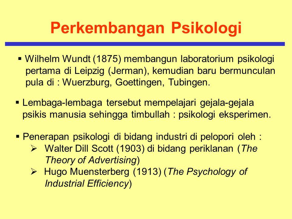 Perkembangan Psikologi Dunia kerja Penekanan Studi Psikologis dalam Dunia Industri  Terjadi pergeseran, yaitu dari fokus pada individu yang terisolir menuju/mengarah kepada kondisi buruh dan pegawai sebagai bagian dari kelompok sosial yang memiliki moralitas dan motivasi- motivasi kerja tertentu.