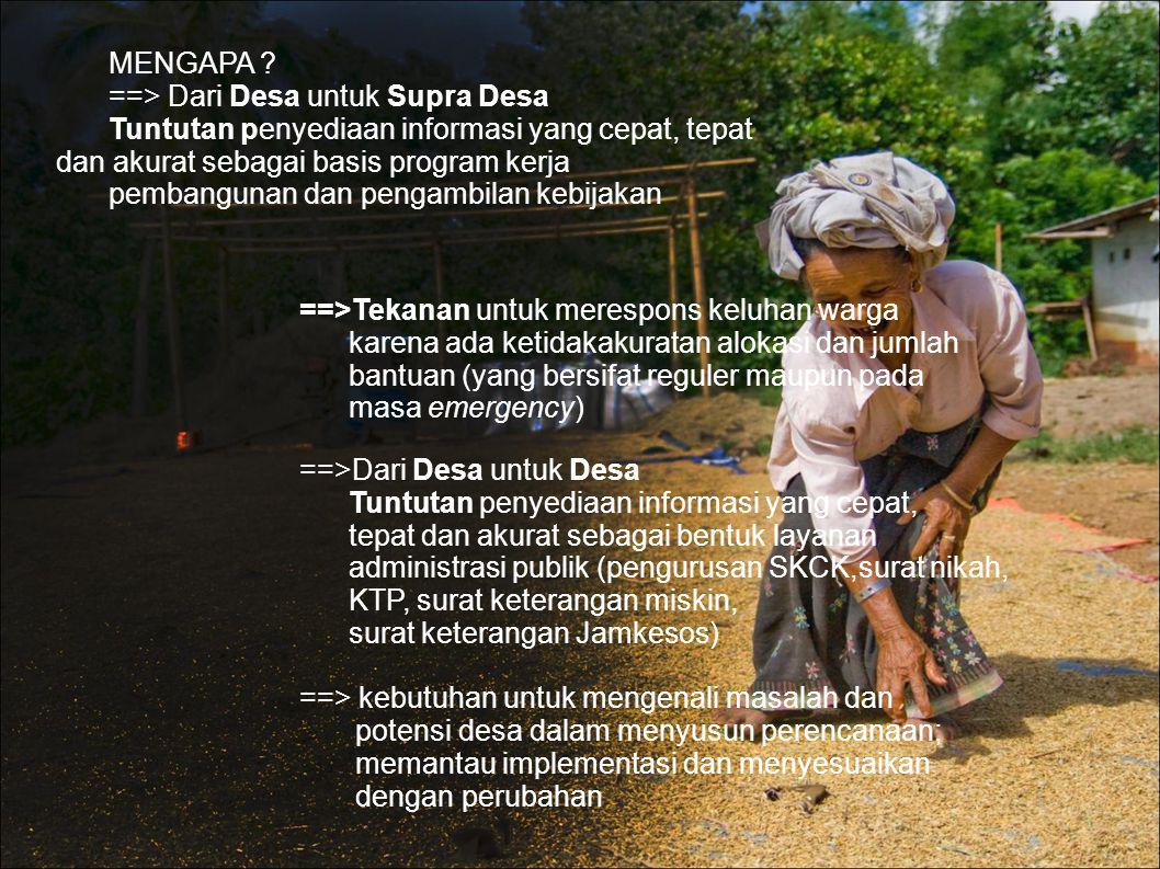 MENGAPA ? ==> Dari Desa untuk Supra Desa Tuntutan penyediaan informasi yang cepat, tepat dan akurat sebagai basis program kerja pembangunan dan pengam