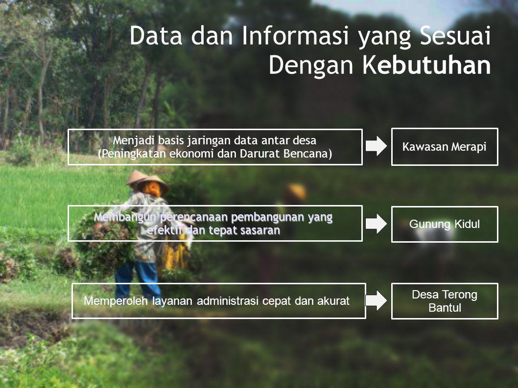 Data dan Informasi yang Sesuai Dengan Kebutuhan Menjadi basis jaringan data antar desa (Peningkatan ekonomi dan Darurat Bencana) Membangun perencanaan