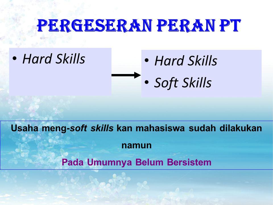 PERGESERAN PERAN PT Hard Skills Soft Skills Usaha meng-soft skills kan mahasiswa sudah dilakukan namun Pada Umumnya Belum Bersistem