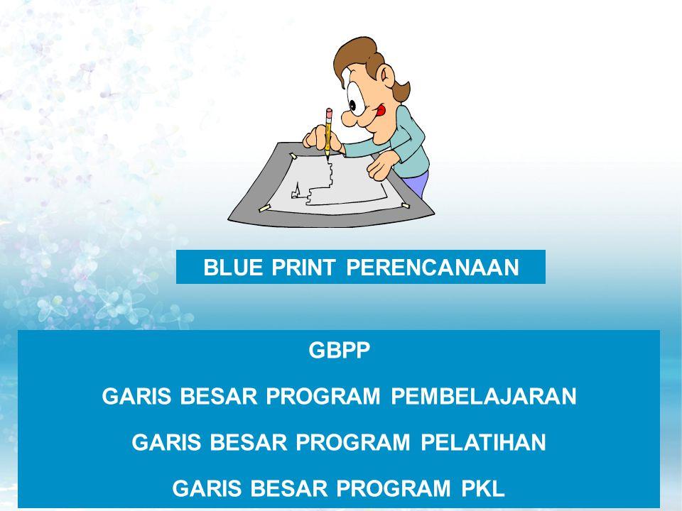 BLUE PRINT PERENCANAAN GBPP GARIS BESAR PROGRAM PEMBELAJARAN GARIS BESAR PROGRAM PELATIHAN GARIS BESAR PROGRAM PKL