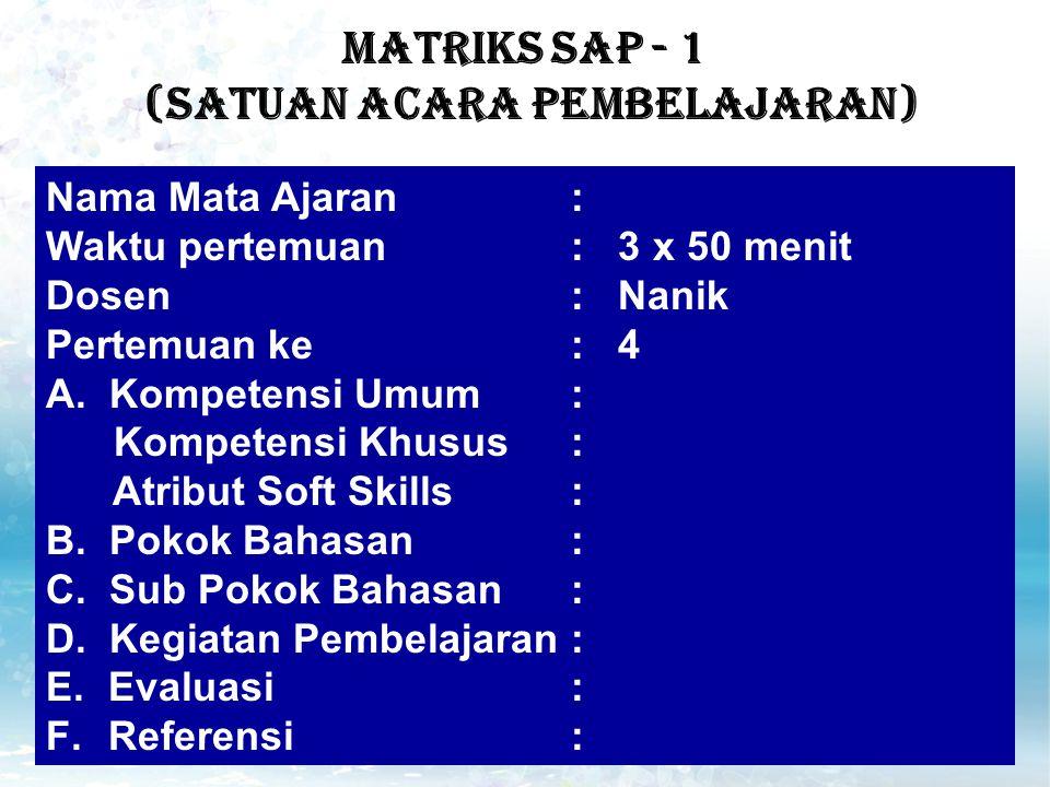 MATRIKS SAP - 1 (Satuan Acara Pembelajaran) Nama Mata Ajaran: Waktu pertemuan: 3 x 50 menit Dosen: Nanik Pertemuan ke: 4 A.