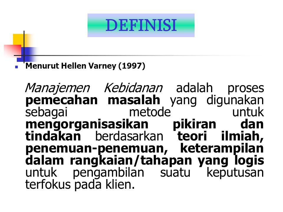 DEFINISI Menurut Hellen Varney (1997) Manajemen Kebidanan adalah proses pemecahan masalah yang digunakan sebagai metode untuk mengorganisasikan pikira