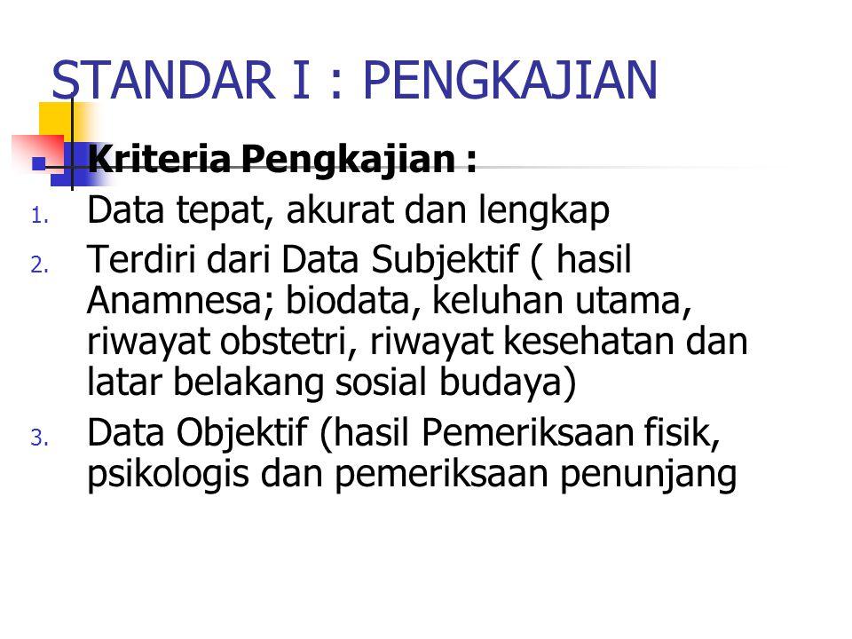 STANDAR I : PENGKAJIAN Kriteria Pengkajian : 1. Data tepat, akurat dan lengkap 2. Terdiri dari Data Subjektif ( hasil Anamnesa; biodata, keluhan utama