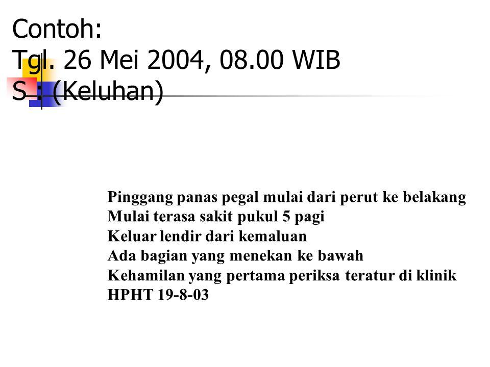 Contoh: Tgl. 26 Mei 2004, 08.00 WIB S : (Keluhan) Pinggang panas pegal mulai dari perut ke belakang Mulai terasa sakit pukul 5 pagi Keluar lendir dari