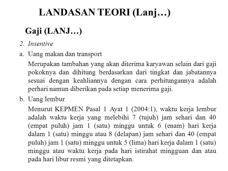 LANDASAN TEORI (Lanj…) 2.Insentive a.Uang makan dan transport Merupakan tambahan yang akan diterima karyawan selain dari gaji pokoknya dan dihitung be