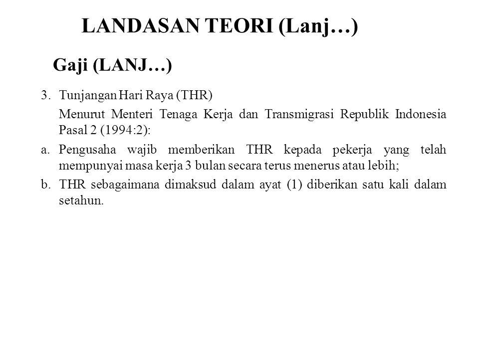 LANDASAN TEORI (Lanj…) 3.Tunjangan Hari Raya (THR) Menurut Menteri Tenaga Kerja dan Transmigrasi Republik Indonesia Pasal 2 (1994:2): a.Pengusaha waji