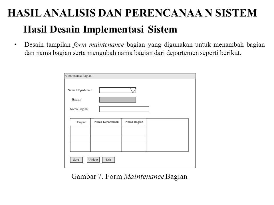 HASIL ANALISIS DAN PERENCANAA N SISTEM Desain tampilan form maintenance bagian yang digunakan untuk menambah bagian dan nama bagian serta mengubah nam