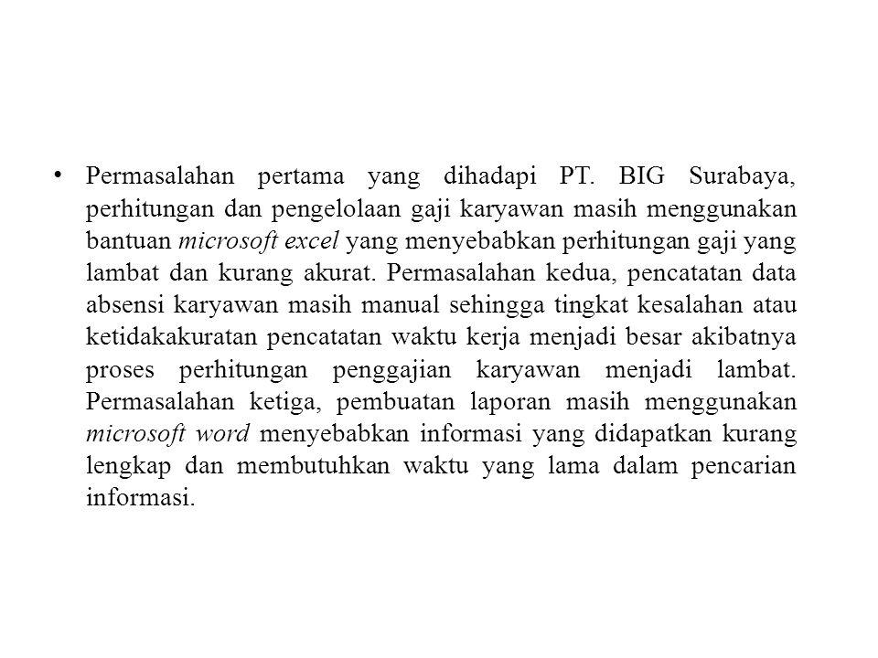 Permasalahan pertama yang dihadapi PT. BIG Surabaya, perhitungan dan pengelolaan gaji karyawan masih menggunakan bantuan microsoft excel yang menyebab