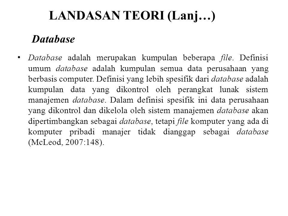 LANDASAN TEORI (Lanj…) Database adalah merupakan kumpulan beberapa file. Definisi umum database adalah kumpulan semua data perusahaan yang berbasis co