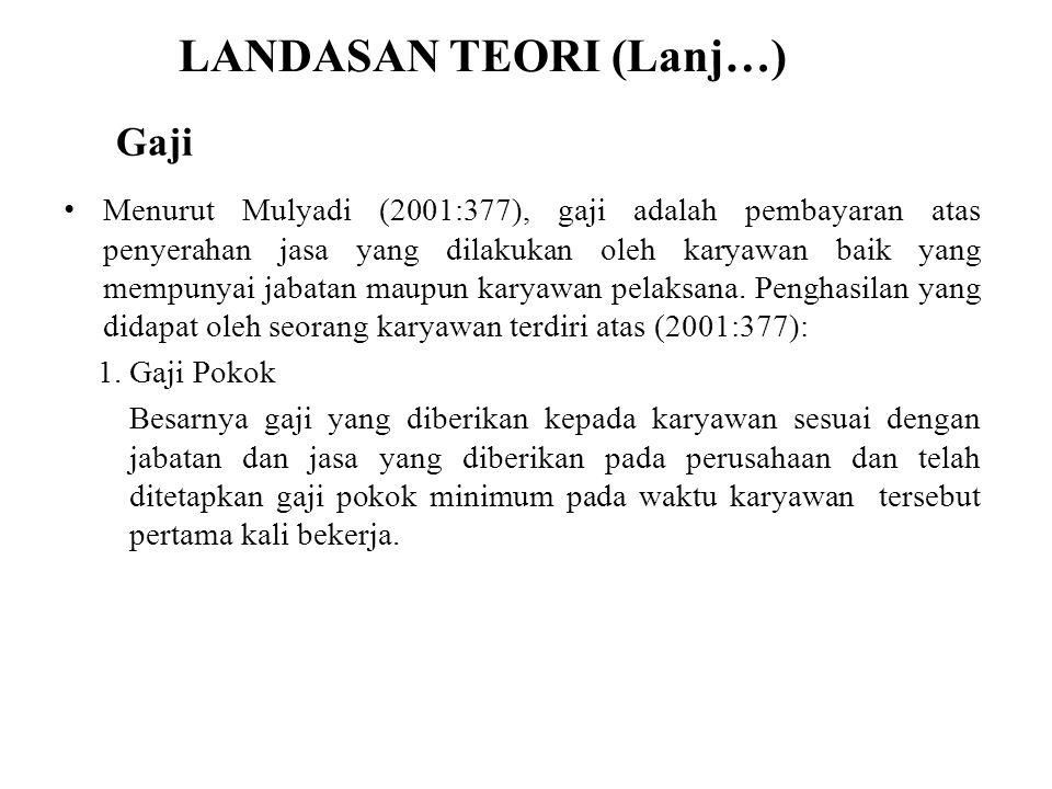 LANDASAN TEORI (Lanj…) Menurut Mulyadi (2001:377), gaji adalah pembayaran atas penyerahan jasa yang dilakukan oleh karyawan baik yang mempunyai jabata