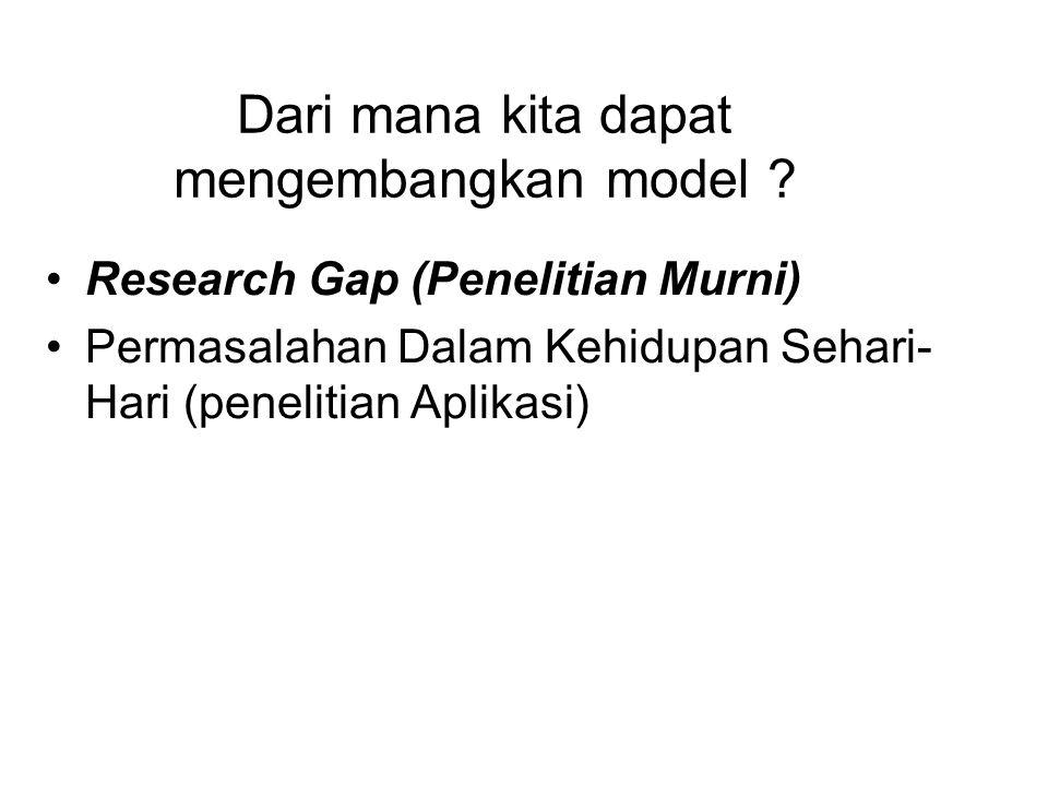 Dari mana kita dapat mengembangkan model ? Research Gap (Penelitian Murni) Permasalahan Dalam Kehidupan Sehari- Hari (penelitian Aplikasi)