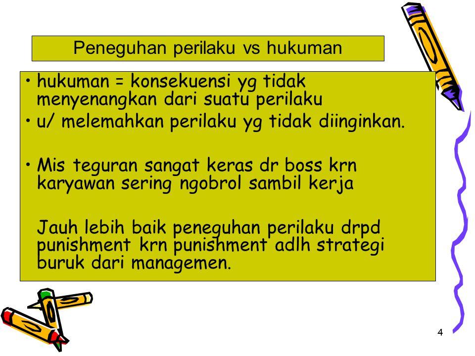 4 hukuman = konsekuensi yg tidak menyenangkan dari suatu perilaku u/ melemahkan perilaku yg tidak diinginkan. Mis teguran sangat keras dr boss krn kar